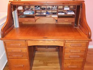 Roll Top Desk Antique Oak S Curve New Price