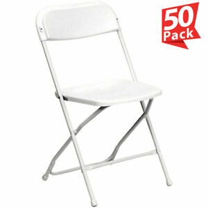 50 White Plastic Folding Chair Outdoor Party 300 Lb Capacity 18 Gauge Steel Tube