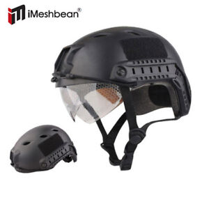 Military Tactical Gear Airsoft Paintball SWAT Protective Helmet w Goggle Black