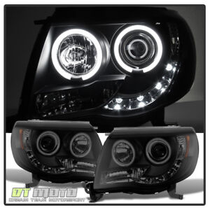 For Black Smoke 2005 2011 Toyota Tacoma Led Strip Ccfl Halo Projector Headlights