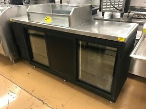 Glastender 84 Back Bar Cooler W Sliding Doors And Ice Club Top New Compressor