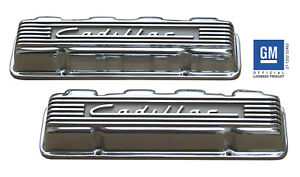 Cadillac Finned Polished Aluminum Valve Covers 331 365 390 429 1949 1967