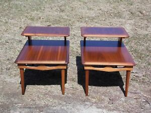 Vintage Pair Mid Century Modern Walnut Step End Tables Two Tier Nightstands
