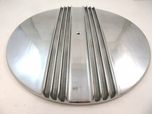 14 Split Finned Retro Polished Aluminum Air Cleaner Lid Only Chevy Ford Mopar