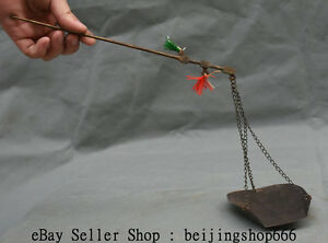 12 Collect Rare Old Chinese Dynasty Bronze Balance Steelyard Beam Lever Scale S