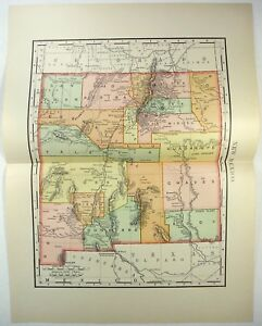 Original 1895 Map Of New Mexico By Rand Mcnally Antique