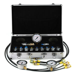 Excavator Hydraulic Pressure Test Kit hydraulic Gauge test 11 Couplings 9000psi