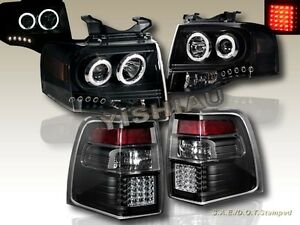 07 11 Ford Expedition 2 Halo Ccfl Led Projector Headlights Led Tail Lights Blk