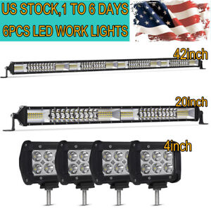 42 Inch Led Light Bar Combo 22in 4 Cree Pods Offroad Suv 4wd Ford Jeep Truck