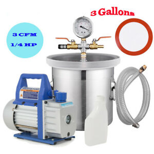 3 Gallon Vacuum Chamber 3cfm Single Stage Pump Hvac To Degassing Silicone Kit