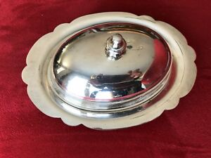Roslyn 5x7 Silverplate Metal Butter Dish With Glass Liner Lid 3 Pieces