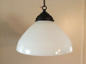 Vintage Milk Glass Pendant Light Cone Shade 1930s Industrial Smooth 10 Inches