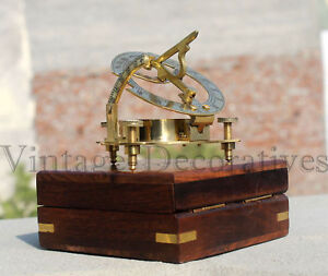 Vintage Astrolabe Compass Nautical Ship With Box Marine Working Brass Compass 3