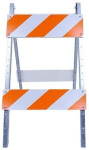 Traffic Street Barricade Wood And Amp Metal Safety Road Sign Stand Reflective