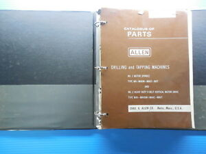 Allen Drilling Tapping Machine Parts Catalog Instruction Manual