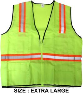 Lime Green Safety Vest Size Extra Large Pack Of 5 Pcs
