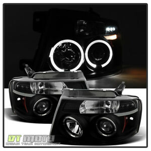Black Smoked 2004 2008 Ford F150 Led Halo Drl Projector Headlights Left right