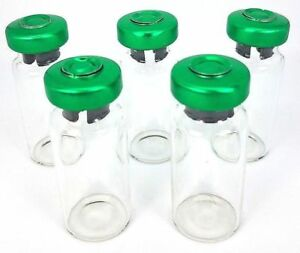 100 10ml Sterile Clear Glass Vials Usp Green Seals Free Shipping