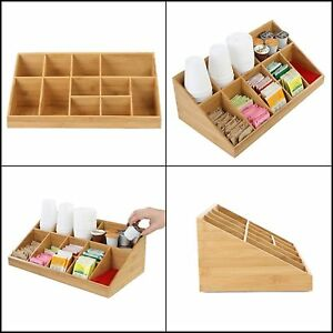 Coffee Cup Lid Condiment Organizer Storage Wood Bamboo Tray Cafe Coffee Office