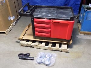Rubbermaid Trademaster Mobile Service Cart 4 drawer W Cabinet 750 Lb Capacity