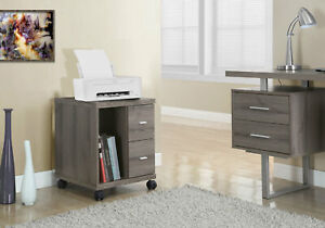 Monarch Office Cabinet Dark Taupe 2 Drawers On Castors Reclaimed Look Furniture