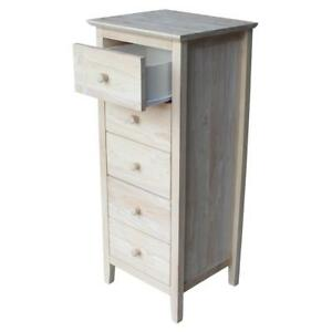 International Concepts Lingerie Chest With 5 Drawers Unfinished