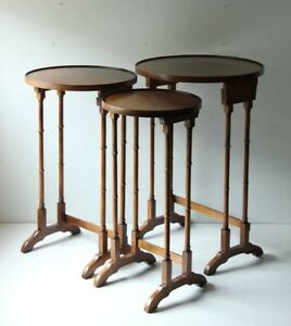 Set Of 3 Brandt Mahogany Stacking Tables Faux Bamboo Chinoiserie Plant Stand