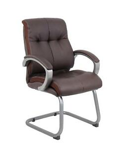 Boss Double Plush Executive Guest Chair Bomber Brown