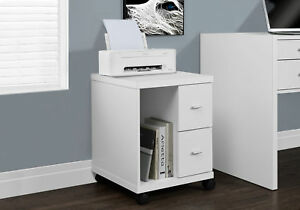 Office Cabinet Storage Furniture Home File Modern Indoor Wood 2 Drawers White