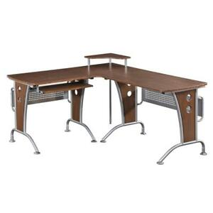 Techni Mobili Deluxe L shaped Tempered Frosted Glass Top Computer Desk With Pull
