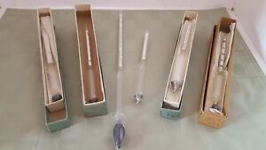Lot Of 6 Vintage Glass Hydrometers Specific Gravity