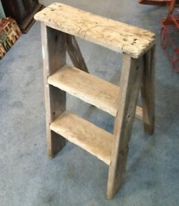 Primitive Hand Made Step Stool Wood Folding Ladder Vintage Farmhouse