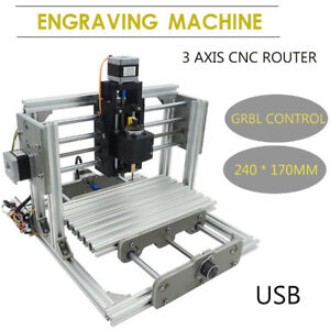 Mini Diy Cnc 2417 Mill Router Kit Metal Engraver Pcb Milling Machine Usb Desktop