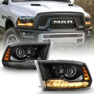 Black 2013 2018 Dodge Ram 1500 2500 3500 Led Drl Projector Headlights Headlamps
