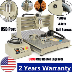 Usb 4axis 6090 1 5kw Vfd Cnc Router Engraver Engraving Wood Acrylic Machine Usa