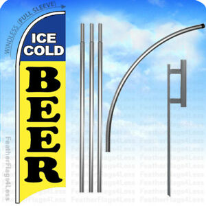 Ice Cold Beer Windless Swooper Flag Kit Feather Banner Sign 15 Set Yb