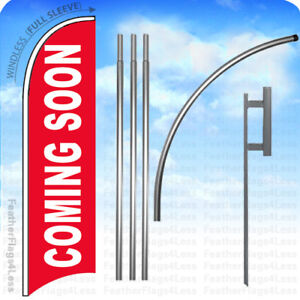Coming Soon Windless Swooper Flag Kit Feather Banner Sign 15 Set Rb