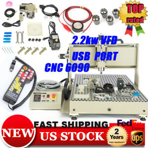 Cnc 6090 Router 4axis 2 2kw Usb Metal Wood Engraver With Handwheel Controller