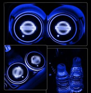 Brand New 2pcs Colorful For Nissan Led Car Cup Holder Pad Auto Atmosphere Lights