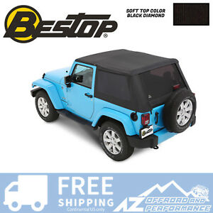 Bestop Trektop Nx Plus Soft Top For 07 18 Jeep Wrangler Jk 2 Door Black Diamond
