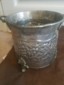 Antique Silver Coated Brass Champagne Ice Bucket Planter Grape Vine Footed India