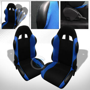 2x Universal Ts Blk blue Cloth Leather Reclinable Racing Bucket Seats slider C02