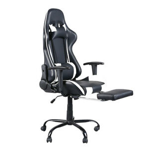 Gaming Style High back Leather Chair Racing Office Chair With Footrest