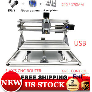 Mini 2417 Cnc Router Laser Engraver Pcb Diy Drilling Carving Machine Usb Grbl