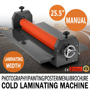 25 5 Manual Cold Laminator Laminating Machine Roll 4 Roller Adjustable Hot