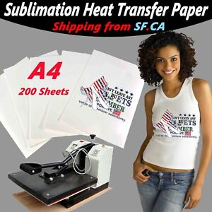 A4 200 Sheets heat Transfer Sublimation Paper 4 White light Color T shirt
