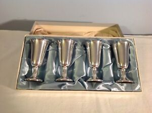 Vintage Sterling Silver Wallace 12 Cordials Shot Glass Mini Goblet Set Of 4