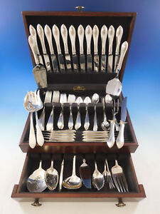 Pointed Antique By R B D H Sterling Silver Flatware Set 12 Service 90 Pcs Dinner