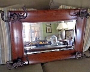 Antique Oak Wall Mount Coat Hat Rack W Beveled Mirror Victorian Ornate Hooks