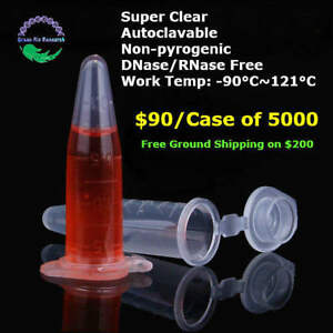 1 5ml Micro Centrifuge Tubes Plastic Test Tubes Test Vials Containers 5000x